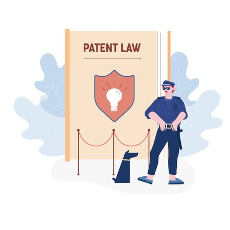 Security Man Wearing Sunglasses and Guardian Uniform Stand with Dog at Huge Book with Shield and Glowing Light Bulb on Cover Protecting Patent Law and Authorship, Cartoon Flat Vector Illustration
