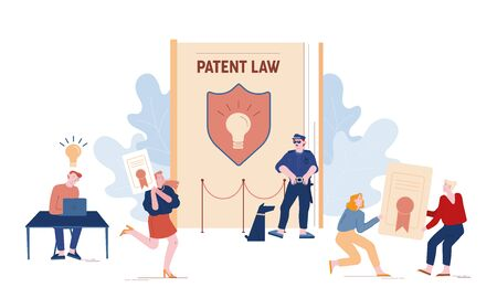 Patent Law Concept. People Authors Create Mental Products and Protecting their Rights for Authorship.