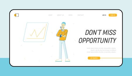 Creativity, Brainstorm and Imagination Website Landing Page. Businessman or Office Employee Searching Solution and Idea at Rising Graph Web Page Banner. Cartoon Flat Vector Illustration, Line Art