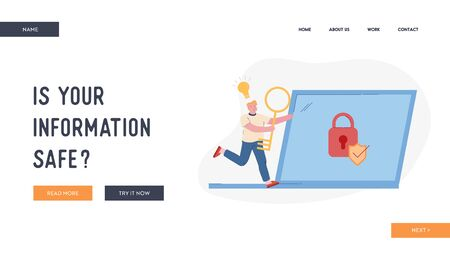 User Remember Lost Account Password Website Landing Page. Happy Man Run with Huge Key in Hands and Glowing Light Bulb above Head to Laptop with Padlock Web Page Banner Cartoon Flat Vector Illustration