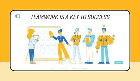 Team Project Development, Teamwork Process Website Landing Page. Business People Communicate at Board Meeting Discussing Idea in Office Web Page Banner. Cartoon Flat Vector Illustration, Line Art