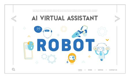 Robots, Artificial Intelligence in Human Life Website Landing Page. Chatbot Help Clients Online Answer Questions, Translating Texts, Ai Tech Web Page Banner. Cartoon Flat Vector Illustration, Line Art Ilustrace