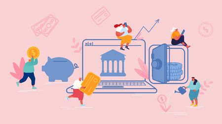 Financial Technology, Fintech Concept. People Using Mobile Banking and Finance Management Ui for Internet Mobile Payments, Transfers and Deposits. Digital Bank Service Cartoon Flat Vector Illustration