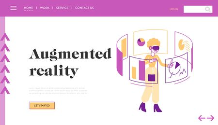 Virtual and Augmented Reality Website Landing Page. Female Character in Vr Goggles Touching Interactive Interface for Working and Studying Web Page Banner. Cartoon Flat Vector Illustration, Line Art