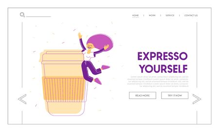 Courage, Active Lifestyle Website Landing Page. Happy Woman Jumping with Hands Up near Huge Plastic or Cardboard Takeaway Cup. Girl Rejoice Web Page Banner. Cartoon Flat Vector Illustration, Line Art