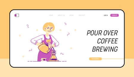 Woman Brewing Coffee Website Landing Page. Housewife or Waitress Pouring Hot Drink into Cezve on Kitchen or in Coffee Shop, Bartender Work Web Page Banner. Cartoon Flat Vector Illustration, Line Art
