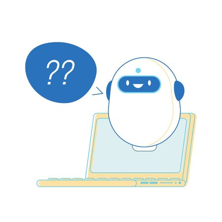 Robot with Question Marks near Laptop Ready to Help Customer, Ai Chatbot Faq Support, Online Consultation. Future Innovation, Artificial Intelligence Technology, Cartoon Vector Illustration, Line Art Ilustrace