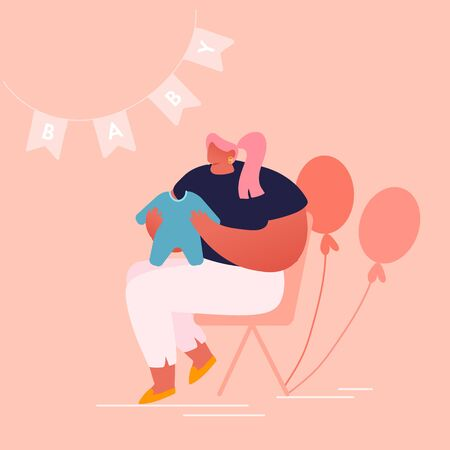 Young Woman Holding Child Clothing in Room Decorated with Balloons and Garlands for Baby Shower Celebration. Gift for Future Mother, Desired Pregnancy, Maternity. Cartoon Flat Vector Illustration