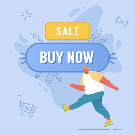 Total Sale and Festive Discount Concept. Shopaholic Male Character Walking near Huge Button with Buy Now Inscription. Happy Man Shopping Recreation, Price Off Promo. Cartoon Flat Vector Illustration 일러스트
