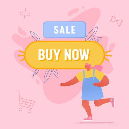 Woman Running near Huge Buy Now Button and Shopping Icons Flying around. Big Sale Promo Campaign, Internet Purchase, Consumer Buying Goods Online, Girl Shopaholic Cartoon Flat Vector Illustration