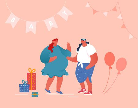 Baby Shower Event, Female Character Talking to Pregnant Woman in Decorated Room with Presents, Air Balloons and Garlands. Happy People Celebration Soon Baby Birthday, Cartoon Flat Vector Illustration