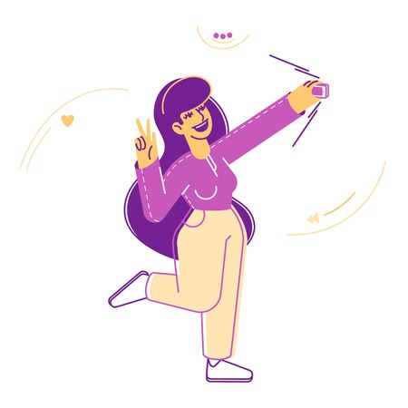 Modern Fashionable Girl Teenager Making Selfie on Smartphone. Young Woman Character Posing and Photographing on Mobile Phone Camera Showing Victory Gesture. Cartoon Flat Vector Illustration, Line Art
