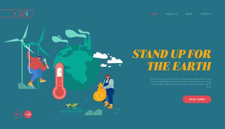 Global Warming Website Landing Page. Man Collect Garbage, Worker Set Up Windmills. People Care of Plants and Earth Illustration
