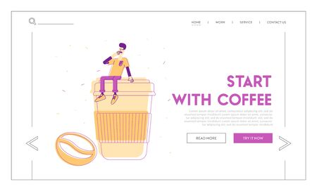 Morning Refreshment and Hot Drink for Takeaway Website Landing Page. Sleepy Man Yawning Sitting on Huge Plastic Cup