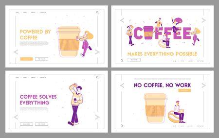 People Drink Coffee Website Landing Page Set. Young Men and Women Buying Takeaway Drink, Man Work on Laptop