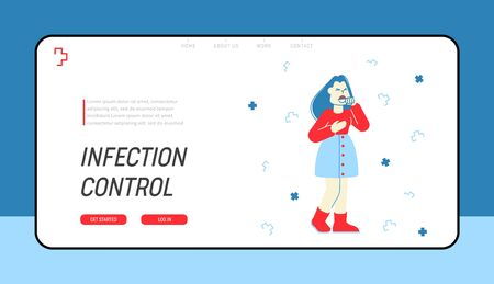 Flu and Sickness Website Landing Page. Diseased Woman Coughing Got Virus Infection, Having Cold or Coronavirus Symptom, Medicine and Illness Web Page Banner. Cartoon Flat Vector Illustration, Line Art Ilustração