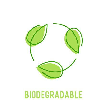 Biodegradable Symbol with Circulate Rotating Green Leaves. Compostable Recyclable Plastic Package Icon with Doodle Drawing Bio Degradable Label for Poster Banner Flyer Brochure Vector Illustration Ilustrace