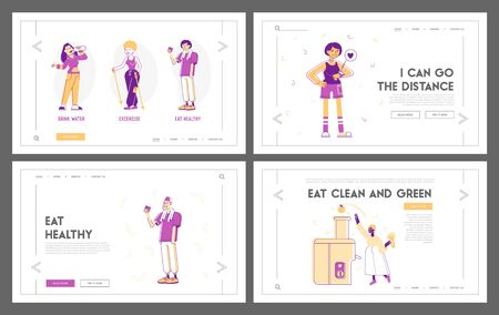 Sport and Food for Health Website Landing Page Set. People Engage Sports Activity, Drink Water and Eating Eco Nutrition, Healthy Lifestyle Web Page Banner. Cartoon Flat Vector Illustration, Line Art