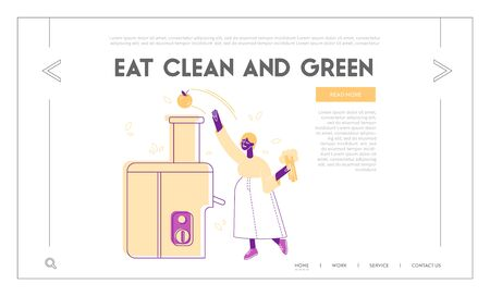 Detox Program for Wellbeing Website Landing Page. Woman Making Smoothie Put Apple and Broccoli into Juicer Machine. Healthy Lifestyle Web Page Banner. Cartoon Flat Vector Illustration, Line Art Illustration