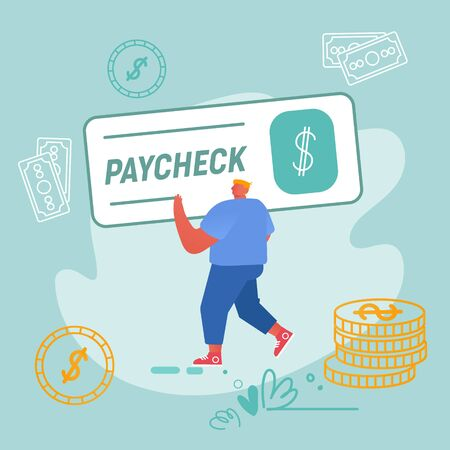 Paycheck Salary and Payroll Payment Concept. Employee Get Earning with Banking Cheque, Man Carry Huge Voucher