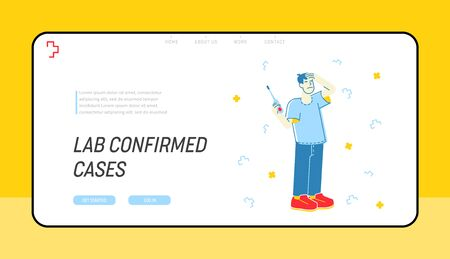 Contagious, Flu and Cold Illness Website Landing Page. Sick Man Having Fever Hold Thermometer and Suffering of Virus Infection Symptoms Web Page Banner. Cartoon Flat Vector Illustration, Line Art