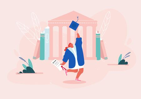 Young Woman Dressed in Mantles Throw Academical Cap in Air with Diploma Certificate in Hand on University Building Background. Alumnus Student Graduation Celebrating, Cartoon Flat Vector Illustration