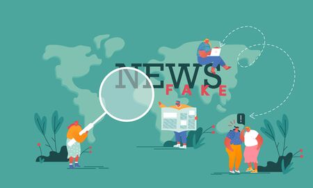 Fake News, Gossips Concept. People Reading Newspapers and Social Media Information in Internet on World Map Background, Info Fabrication Poster Banner Flyer Brochure. Cartoon Flat Vector Illustration Illustration