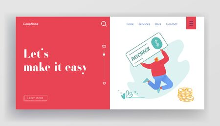 Paycheck Lottery Win, Salary and Payroll Payment Website Landing Page. Man Jump with Huge Voucher for Get Money in Bank. Employee Get Cheque Earning Web Page Banner. Cartoon Flat Vector Illustration Ilustração