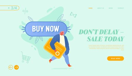Shopping Sale, Promotion Offer in Store Website Landing Page. Woman with Credit Card Passing Buy Now Button. Cashless Transfer Money Banking System Web Page Banner. Cartoon Flat Vector Illustration