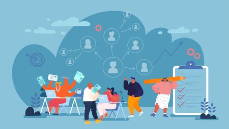 Delegation of Authority and Charges Concept. Office People Share Work, Create Structure of Professional Management. Overload Business Woman Delegate Tasks to Employees Cartoon Flat Vector Illustration Vecteurs