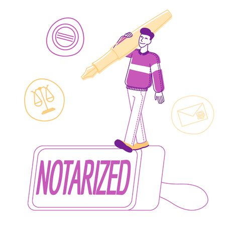 Notary Worker Stand on Huge Rubber Stamper with Quill Pen on Shoulder and Symbols of Scales, Letter Envelope and Seal Stamp around. Documents Authorization Cartoon Flat Vector Illustration, Line Art Illusztráció