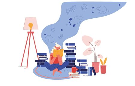 Education, Reading Hobby Concept. Woman Sitting on Floor with Cup of Tea Reading Books. College or University Student Prepare to Exam, Character Gaining Knowledge Cartoon Flat Vector Illustration Ilustración de vector