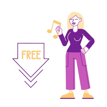 Free Download Concept. Woman Holding Music Icon in Hand. Stream or Upload Torrent Data from Servers, Online Media Content Share Network Internet Technologies Cartoon Flat Vector Illustration, Line Art