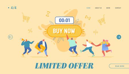Black Friday Shopping, Total Sale Website Landing Page. Happy People Purchasing around of Huge Button with Buy Now Inscription. Promoter with Megaphone Web Page Banner Cartoon Flat Vector Illustration