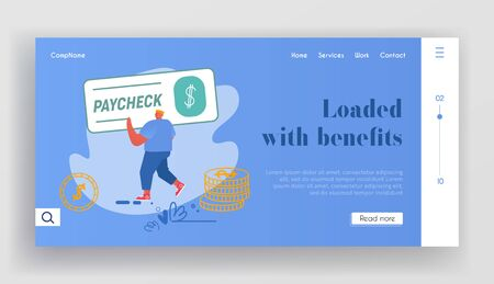 Paycheck Salary and Payroll Payment Website Landing Page. Employee Get Earning with Banking Cheque, Man Carry Huge Voucher for Getting Money in Bank Web Page Banner. Cartoon Flat Vector Illustration