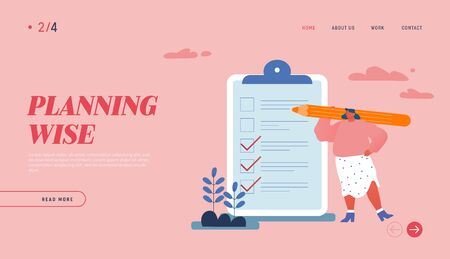 Business Lifestyle, Time Management Landing Page Template. Businesswoman Character Holding Huge Pencil near Clip Board with To-do List or Tasks for Delegating to Partners. Cartoon Vector Illustration