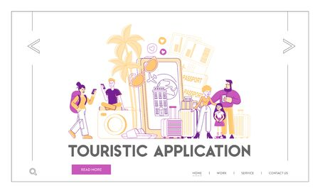 App for Tourists Landing Page Template. Happy People Go Travel Booking Plane Tickets Using Mobile Phone. Characters with Luggage near Huge Cellphone with Trip Application. Linear Vector Illustration