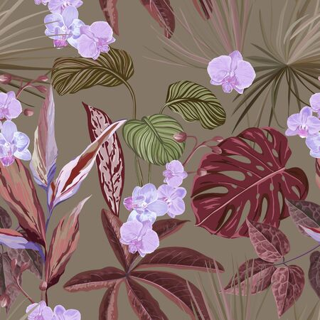 Floral Wallpaper Print with Exotic Orchid Blossoms, Seamless Tropical Background with Philodendron and Monstera Rainforest Plants, Jungle Flowers and Leaves, Nature Ornament. Vector Illustration