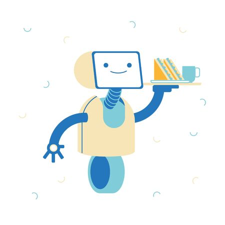 Robot Service, Artificial Intelligence Concept. Ai Waiter Character, Robotic Assistant Serving Clients in Cafe or Restaurant. Smiling Bot with Sandwich and Cup on Tray. Linear Vector Illustration