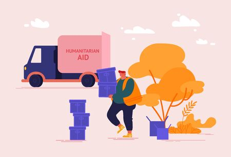 Man Volunteer Carry Box with Donating Things. Charity Organization Help People in Troubles and Poor Families with Finance Problems. Donation Humanitarian Aid Concept. Cartoon Vector Illustration