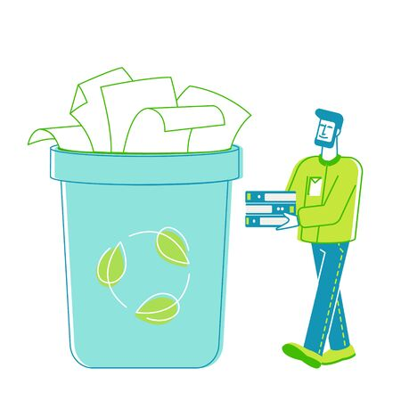 Man Volunteer Character Carry Pile of Old Used File Sheets Collecting Wastepaper Trash for Recycling and Reuse. Environmental Problem, Ecology Protection, Save Paper. Linear Vector Illustration