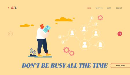 Leadership, Authority, Effective and Productive Management Landing Page Template. Company Boss, CEO Character Delegating Responsibilities to Employees Look on Arrow Scheme. Cartoon Vector Illustration Illusztráció