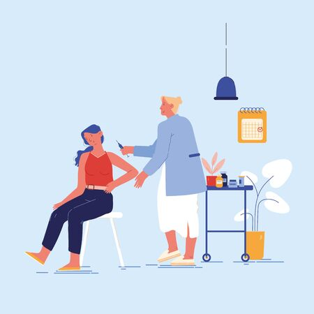 Vaccination Concept. Doctor Character Injecting Flu Shot Vaccine to Patient Arm. Young Woman Sitting in Medical Cabinet Apply Drug. Viruses and Disease Prevention. Cartoon People Vector Illustration