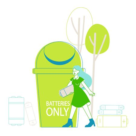 Sorting E-Waste, Garbage Segregation. Woman Character Carry Huge Battery for Recycling Electric Rubbish. Environment Protection, Reduce Earth Pollution Nature Protection. Linear Vector Illustration