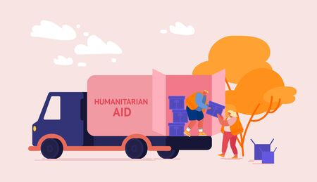 Volunteers Characters Distribute Boxes with Humanitarian Aid. Distribution of Food and Basic Necessities to Refugees, Poor People in Need and Vulnerable Social Groups. Cartoon Vector Illustration