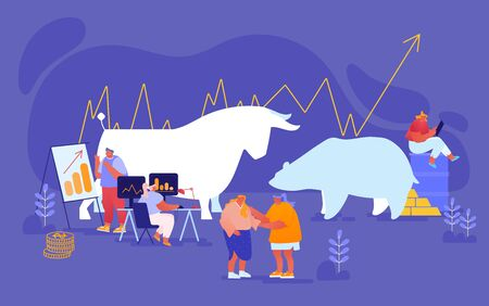 People Trading at Stock Market. Businesspeople Brokers or Traders Characters Analyse Global Fond and Finance News for Buying and Selling Bonds and Currency Bears and Bulls. Cartoon Vector Illustration