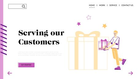 Customer Care and Loyalty Program Landing Page Template. Male Character Carry Wrapped Gift Box Get Present from Store. Consumerism, Special Offer for Clients, Seasonal Sale. Linear Vector Illustration