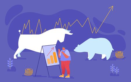Businessman Character Analyze Fund Market Stand at Chartboard with Growing Arrow Graph. Bulls and Bears, Currency and Bonds Investment, Stock Market Exchange and Trading. Cartoon Vector Illustration