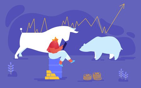 Businesswoman Character Sitting on Oil Barrel with Gold Bars and Coins on Bear and Bull Silhouettes, Trader Selling and Buying Bonds, Currency and Metals on Stock Market. Cartoon Vector Illustration Ilustração