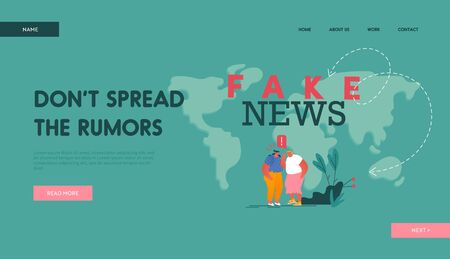 Fake News Landing Page Template. Couple of Women Characters Telling Gossips to Each Other on World Map